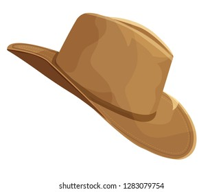 Clip Art of a brown cowboy hat isolated on white