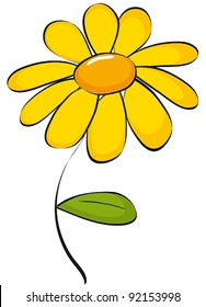 Clip art of colorful cute yellow daisie