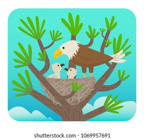 Clip art of an eagle with it's chicks in a nest on a tree. Eps10