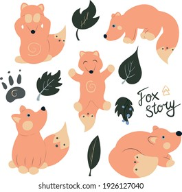 Clip art of five funny  foxes, leaves, signature and paw