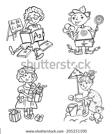 Clip Art Funny Little Children Perform Different Actions Boy Reading Boy Eating