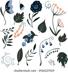 Clip art of hand-drawn flowers and leaves