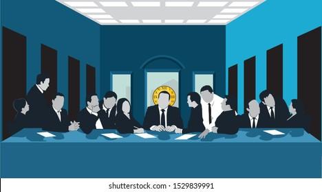 clip art illustration of business men at a last supper scene
