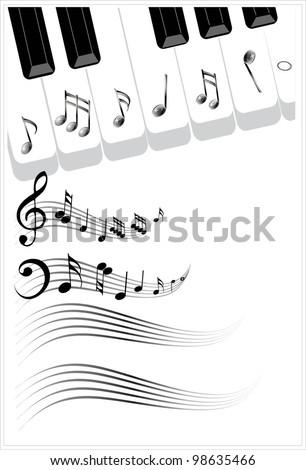 Clip Art Illustration Music Background Piano Stock Vektorgrafik
