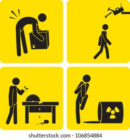 Clip art illustration styled like a universal sign showing a stick figure man suffering various work-related injuries.