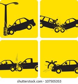 Clip art illustration styled like universal signs showing a series of car accidents. Compositions are inside a clipping mask, so any of the scenes can be expanded to show the whole car or street lamp.