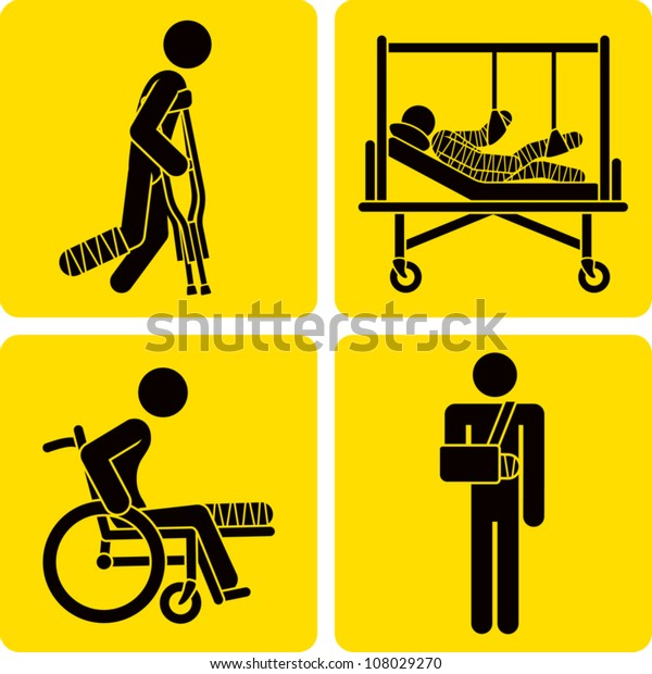 Clip art illustration styled like universal signs showing a stick figure man with a broken bone. Includes broken leg with crutches, broken leg in wheelchair, broken arm in sling, and full body cast.