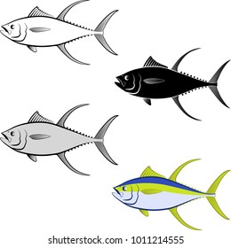 clip art illustration of tuna fish and line art