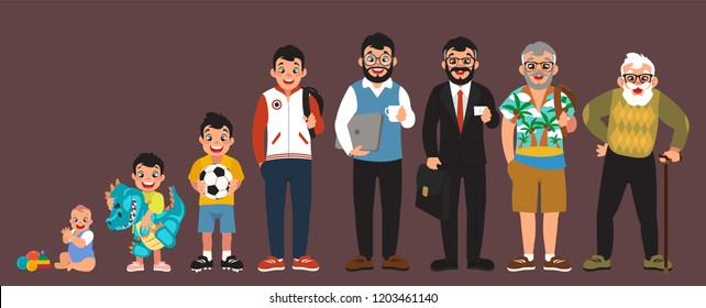 clip art men's stages of development set, cartoon design, generation stages, vector illustration, (set 2/2), big black eyes, black hair, Asian, Arab, Latino, Caucasian