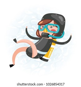 Clip art of one cute girl scuba diver in black wet suit which is ideal for creating your wallpapers, backgrounds, stickers, fabric patterns, clothing prints, labels, crafts & projects