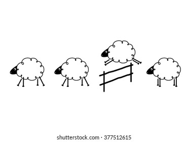 clip art sheep jumping on white background