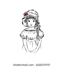 Clip art vintage portrait of a girl in hat with flowers and dressed in dress