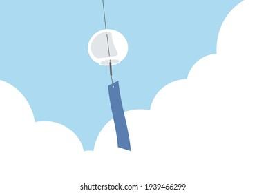 風鈴のクリップアート 日本の夏の伝統。 風になびく金属や磁器製の小さな吊り鐘。