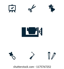 Clip icon. collection of 7 clip filled icons such as hair barrette, board, blowtorch, scissors, bell. editable clip icons for web and mobile.