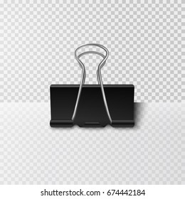 Clip on office post note isolated on transparent background. Paper metal blinder attach with shadow. Vector silver paperclip on memo for advertising design.