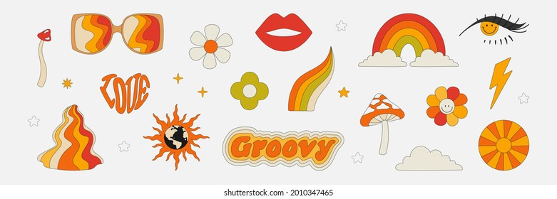 Clipart of the 70s. Hippie style. Vector illustrations in simple linear style. Rainbows, flowers, abstractions, mushrooms, psychedelic style.
