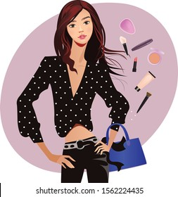 clipart beauty fashion girl, girl in black clothes, woman with cosmetics, beautyful woman face, femal fashion clipart