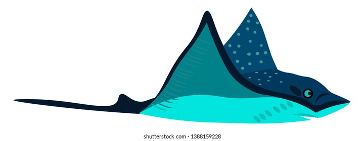 Clipart of a blue-colored stingray bird with sky blue colored spots at flight flapping its wings  vector  color drawing or illustration