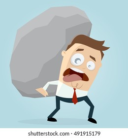 clipart of businessman carrying a big rock