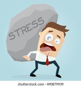 clipart of businessman carrying a big stress rock