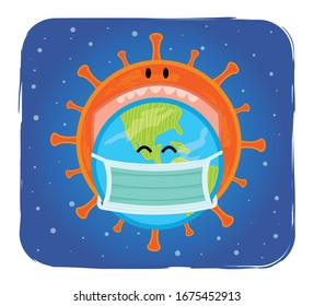 Clipart of Coronavirus tries to swallow Earth. Eps10