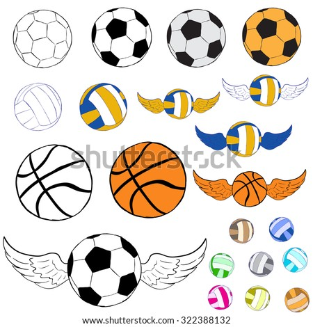 Clipart Football Volleyball Basketball Wings Stock Vector Royalty