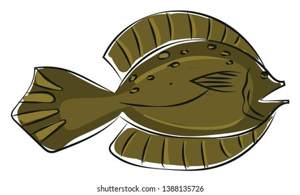 Clipart of a green small-mouthed flatfish with an oval-shaped  flat  and thick body and straight lateral lines leading to a pointed tail  vector  color drawing or illustration