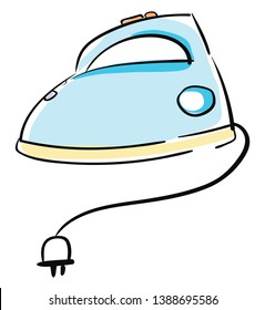 Clipart of a hollow blue-colored flatiron heated by inserting a hot iron core equipped with a white-colored electric plug lies on the floor  vector  color drawing or illustration