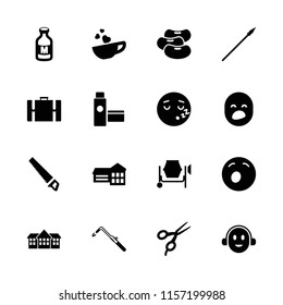 Clipart icon. collection of 16 clipart filled icons such as barber scissors, blowtorch, school, yawn emot, sleeping emot, milk. editable clipart icons for web and mobile.