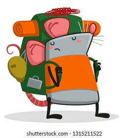Clipart illustration of a desert rat with a backpack
