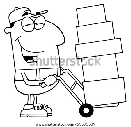 Clipart Illustration Outlined Delivery Guy Stock Vector Royalty