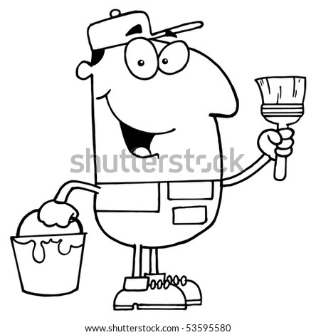 Clipart Illustration Outlined House Painter Stock Vector Royalty