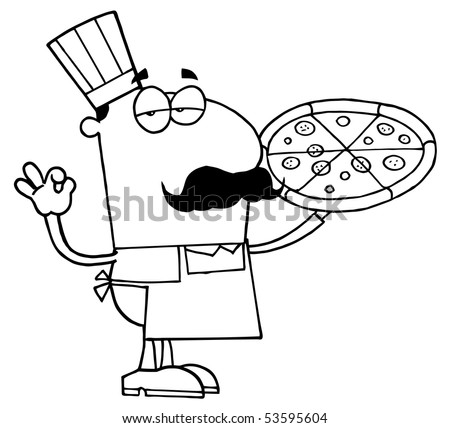 Clipart Illustration Outlined Pizza Cook Stock Vector Royalty Free