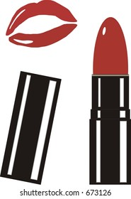 Clip-Art of lipstick and lips