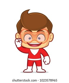 Clipart picture of an excited superhero cartoon character