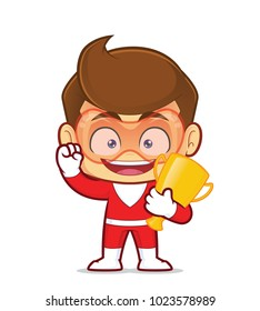 Clipart picture of a superhero cartoon character holding gold trophy