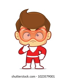 Clipart picture of a superhero cartoon character thinking