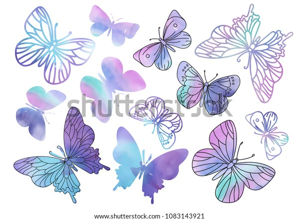Clipart PURPLE BUTTERFLY Color Vector Illustration Set About Magic Cartoon Picture for Scrapbooking Babybook and Digital Print on Card And Photo Children's Albums