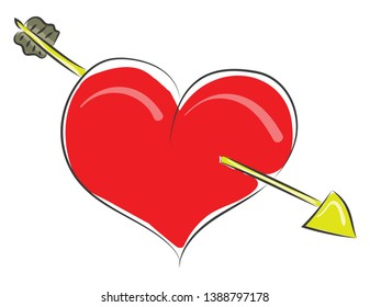Clipart of a red heart struck with an arrow symbolizes love  vector  color drawing or illustration