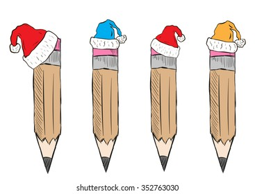 Clipart with a set of Christmas pencils caps