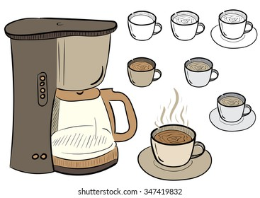 Clipart with a set of coffee mugs and the coffee maker