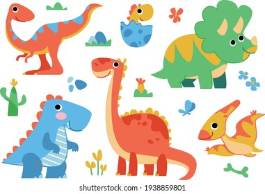 Clipart set of cute colored dinosaurs. T-rex, diplodocus, triceratops, pterodactel. Vector illustration in cartoon style.