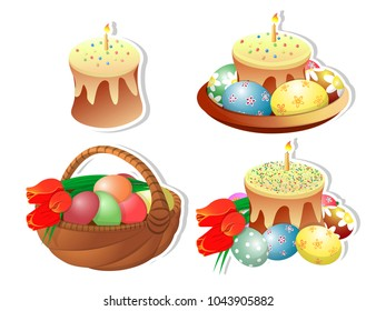 Clip-art set of Easter baskets with Easter cakes and a burning candle on a white background. Isolated. Painted eggs, bouquet of tulips. Congratulations on Easter and spring. Vector illustration.