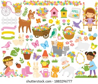 Clipart set for spring. Cute cartoon springtime items such as flowers, children, gardening tools and animals.