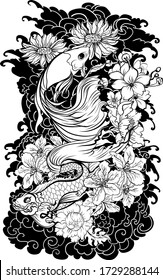 Clipart Siamese fighting fish or betta fish swimming in Japanese wave with peony and daisy flowers for hand drawn tattoo art design in  geometric and circular ornament frame.Arm sleeve tattoo.