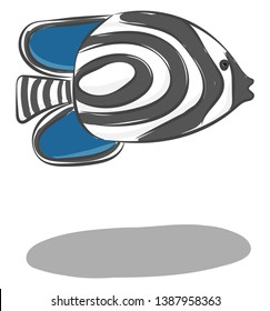 Clipart of the zebrafish with black stripes  which are reminiscent of a zebra's stripes  both pectoral and pelvic fins in blue color  vector  color drawing or illustration
