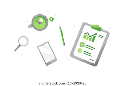 Clipboard with accounting report. Profit impact of marketing strategy. Checklist templates. Business employee workplace. Green. Eps 10