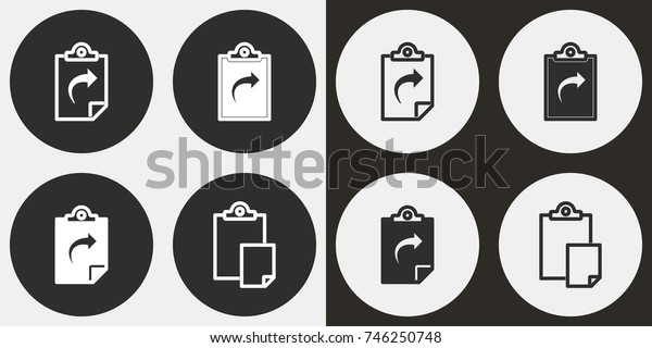 Clipboard - black and white vector icons. Round buttons for graphic and web design.