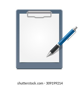 Clipboard with blank paper and pen