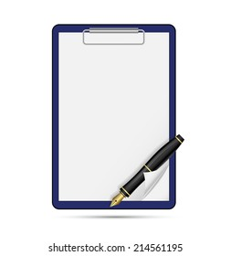 Clipboard blank sheet of paper and pen